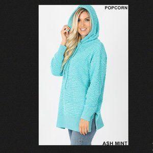 Hooded Long Sleeve Popcorn Sweater w/ Side Slits